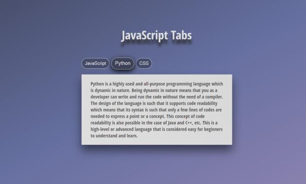 JavaScript Tabs Styled