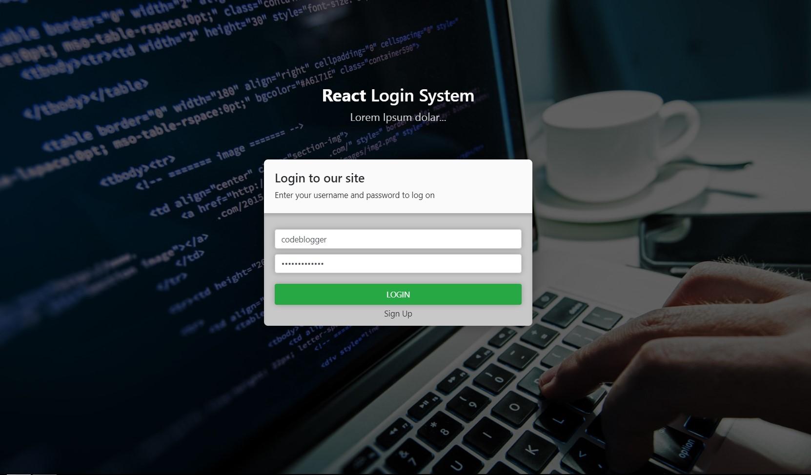 React JS Login System – TrueCodes